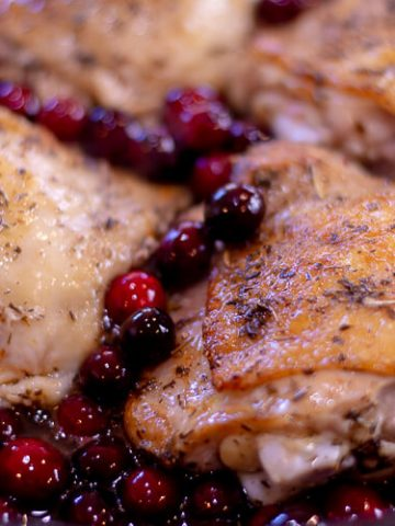 Cranberry Chicken Thighs in the Cast Iron Skillet