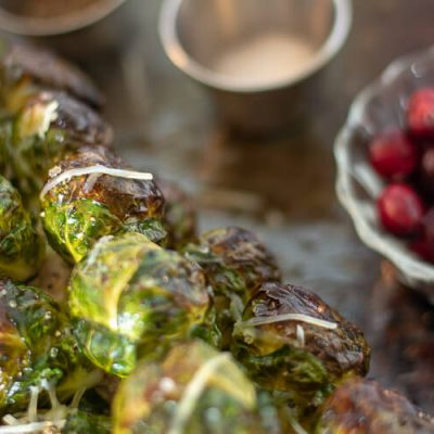 Sheet Pan Roasted Brussel Sprouts Stalk in the Oven