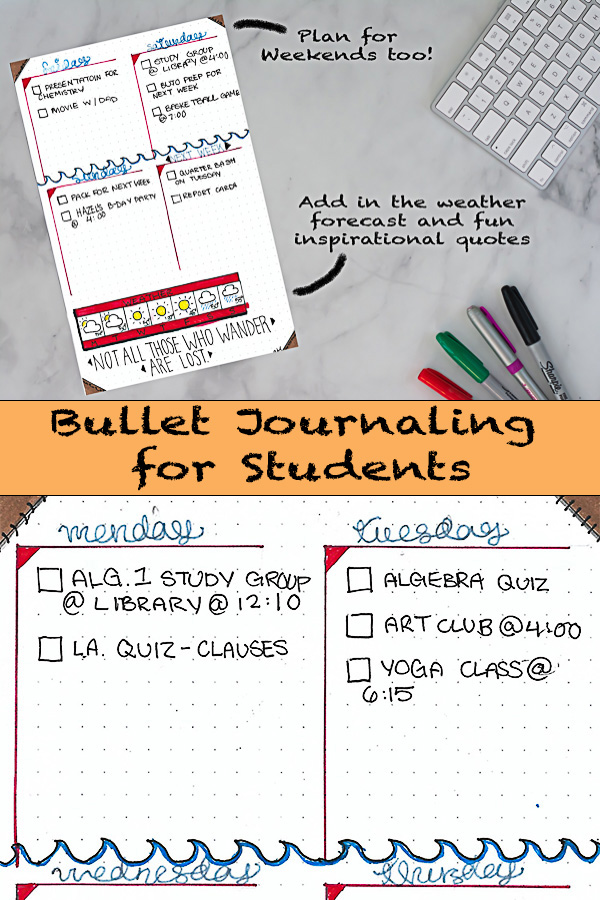 Bullet Journal Spread Ideas for Students in High School and University