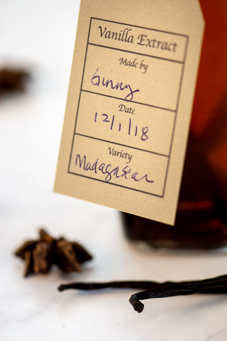 Closeup of Printable Tag on a Bottle of Homemade Vanilla Extract
