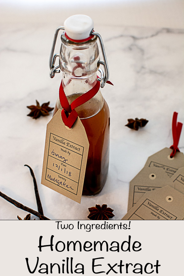 Bottle with Stopper filled with Vanilla Beans and Vodka. A Printable Tag hanging on the Bottle with a Red Ribbon Shows Who Made it, When it was Made, and What Variety of Vanilla Bean was Used