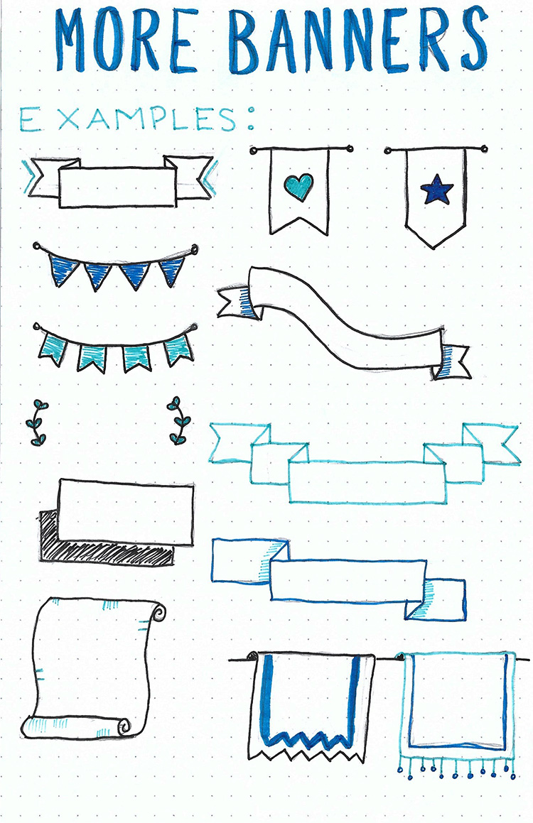 An A5 sheet of paper with several ideas for bullet journaling banners to use as examples