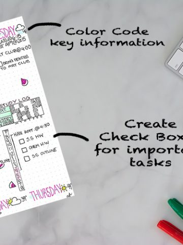 Bullet Journaling page that color codes different time slots throughout the day to group classroom work in one color and social activities in a different color