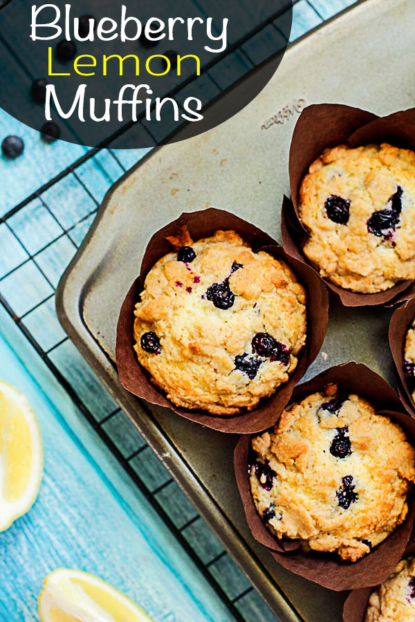 Delicious Blueberry Lemon Muffins with an Awesome Streusel Topping #Blueberry #Lemon #Muffins #Streusel #MuffinLiners #BlueberryMuffins