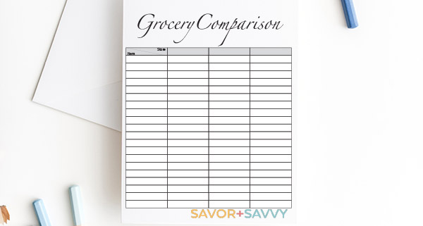 Free Grocery Comparison Printable to Show Which Stores Save the Most for Your Groceries