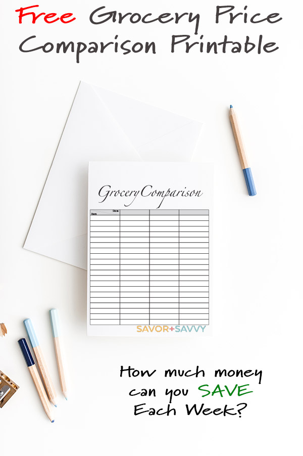 Free Grocery Comparison Chart. How much money will you save using this Printable? #printable #FreePrintable #Grocery #ComparisonShop #SaveMoney #Frugal #FrugalLiving #CheapGroceries