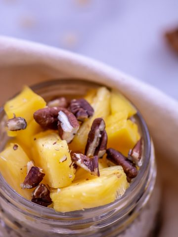 Tahini mixed in with the sweetness of the mango and pineapple make for an excellent combination of flavors on this jar of overnight oats