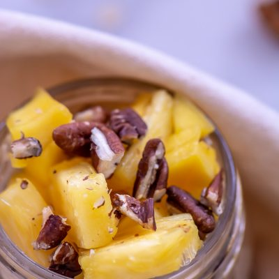 Pineapple, Mango, and  Tahini Overnight Oats