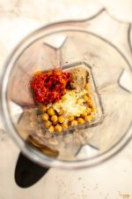 Chickpeas, Garlic, Tahini, and Roasted Red Peppers in the Blender