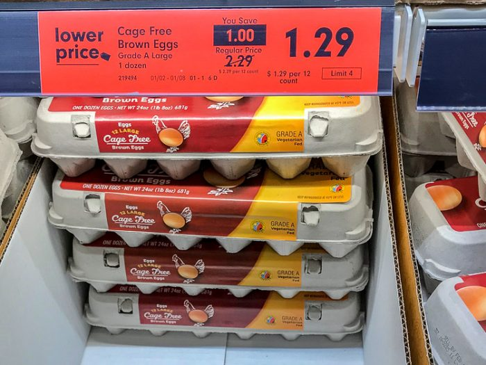 Cage Free Chicken Eggs were only $1.29 at Lidl. This is a significant cost savings over my other grocery stores