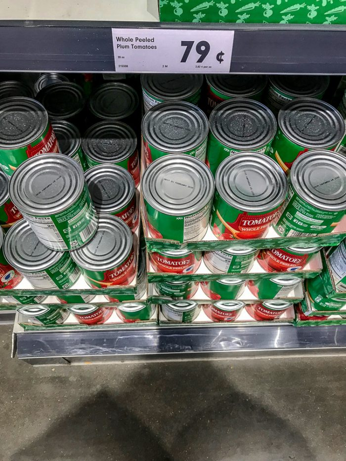 Lidl's Plum Canned Tomatoes and their price of $.79 per can