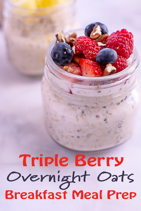 Triple Berry Healthy Overnight Oats Recipe #OvernightOats #HealthyBreakfast #MealPrep #Oatmeal #Oats #MakeAheadMeal #Breakfast