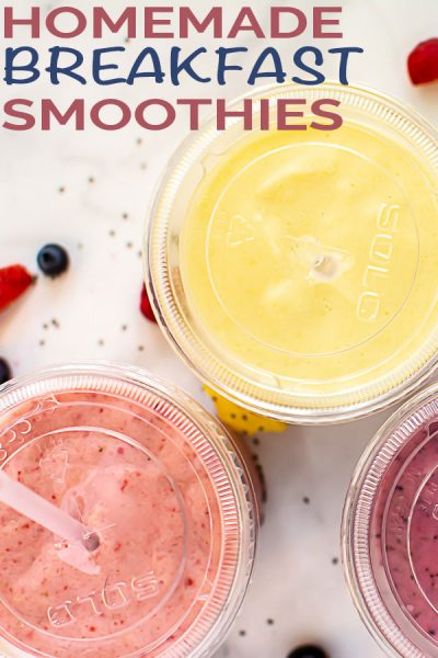 Homemade Breakfast Smoothies are a fun and healthy way to kick off the morning. Fin three different recipes! #Smoothies #Breakfast #BreakfastSmoothies