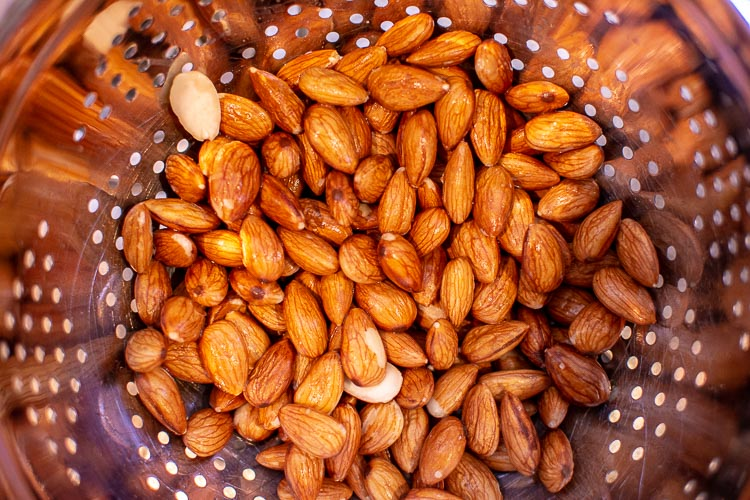 almonds soaked overnight and in a a colander after being rinsed