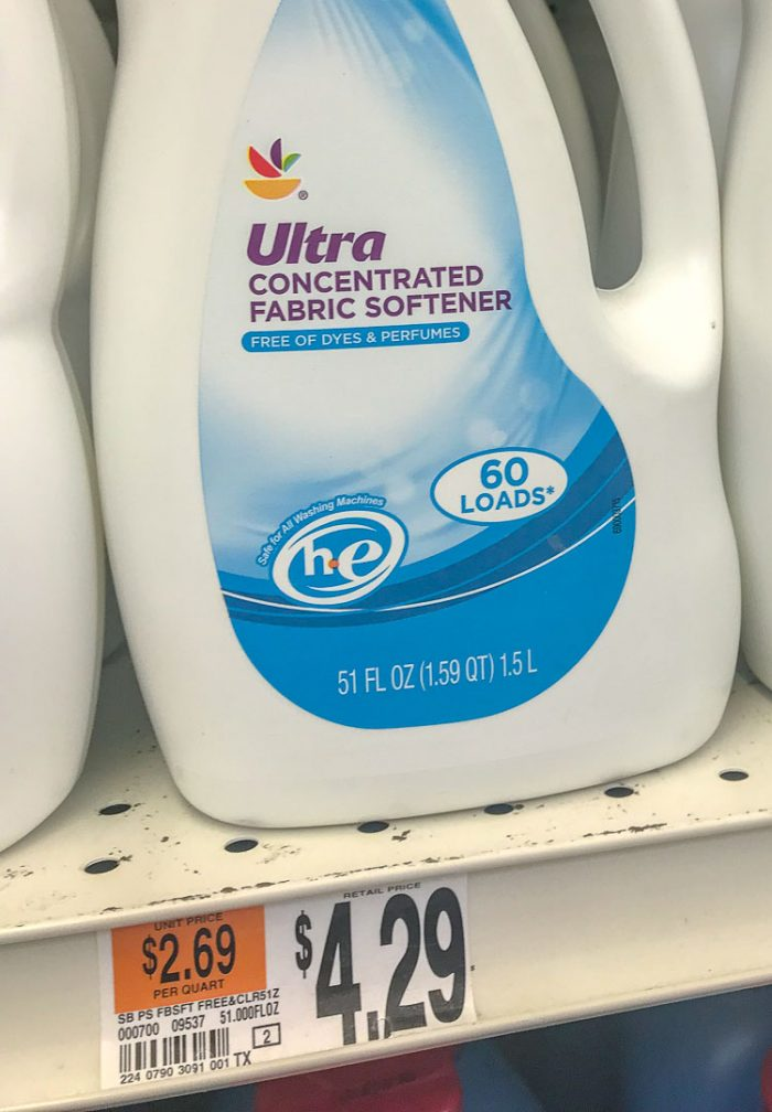 generic store bought fabric softener at Walmart