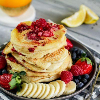 The Most Amazing Raspberry Lemon Ricotta Pancakes
