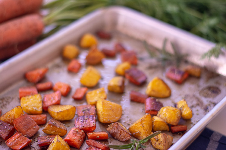 Use a little bit of olive oil to prevent sticking. These roasted beets and carrot are a perfect side dish that tastes like a million bucks!