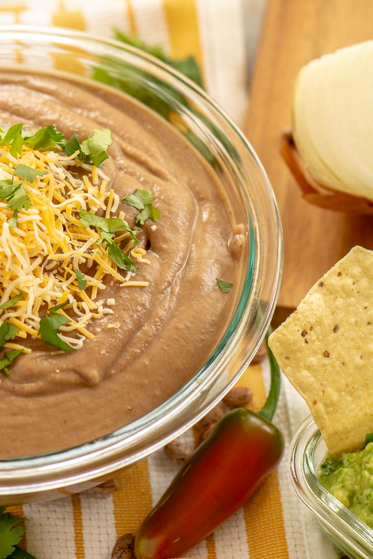 Vegan Crockpot Refried Beans include Jalapeños and are super healthy