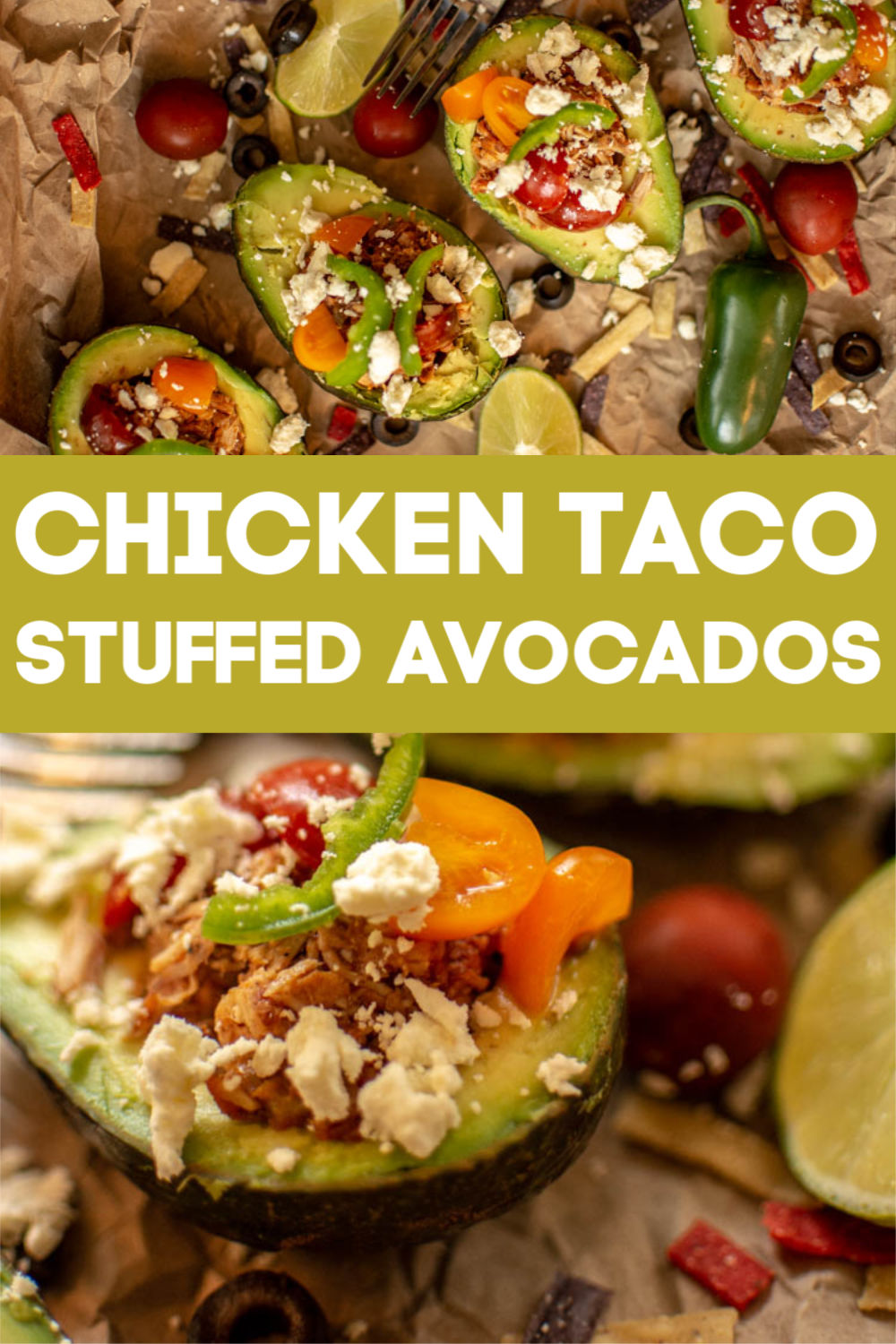 Super Easy and Healthy Chicken Taco Stuffed Avocados. This is easy for portion control and tastes phenomenal! So darned good! #taco #avocado #StuffedAvocados #Chicken #Mexican