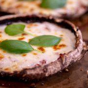 Delicious and Fresh Basil and Mozzarella Pizza on a Portobello Mushroom