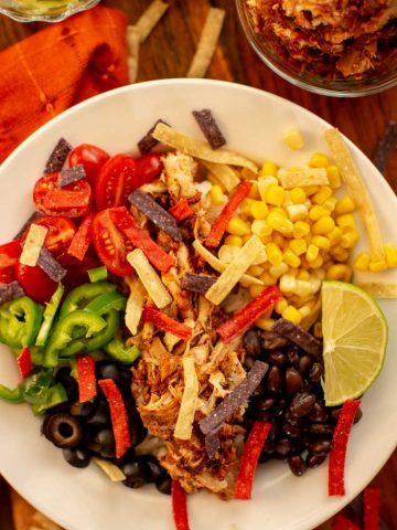 top down view of the chicken burrito bowl. It is loaded with flavor and is so delish!