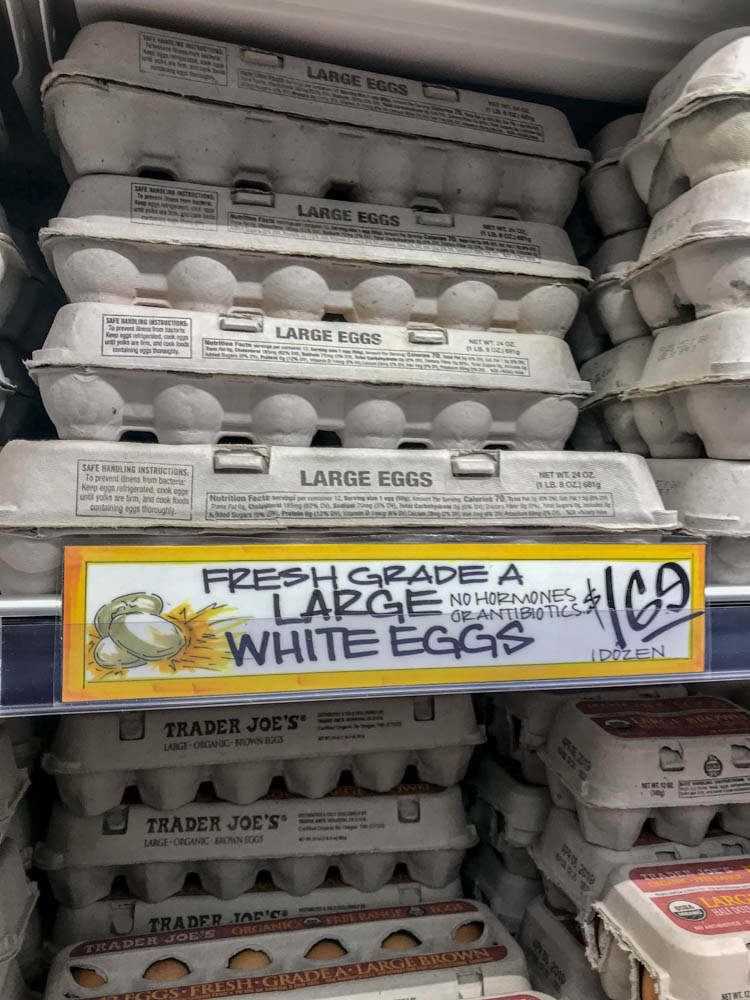 Save money on your frugal shopping by knowing what to save money on at Trader Joes, like these fresh eggs