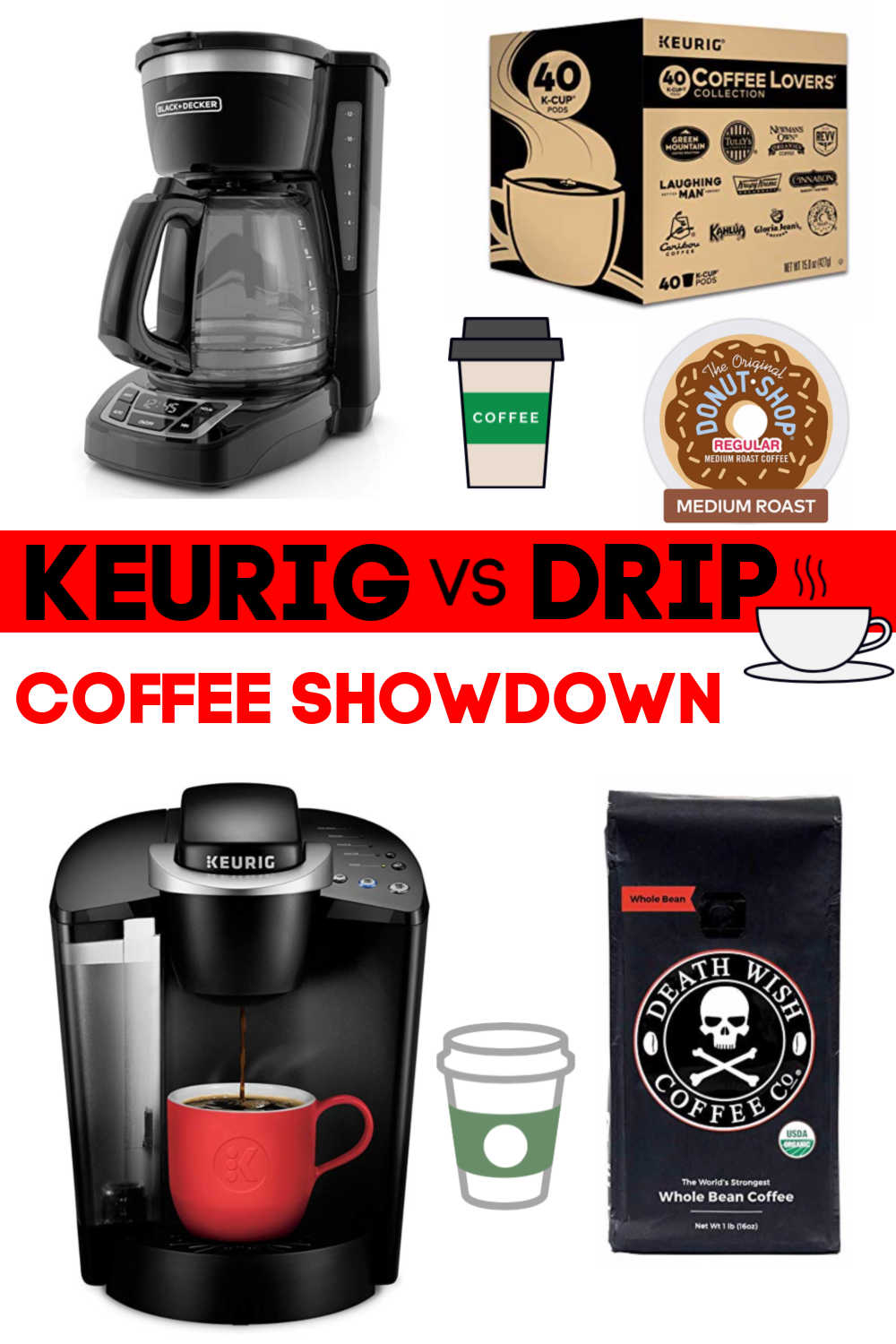 Keurig vs Drip Coffee Showdown. Drip coffee saves money but is not available as quickly as k cups #Keurig #dripcoffee #coffee #frugal