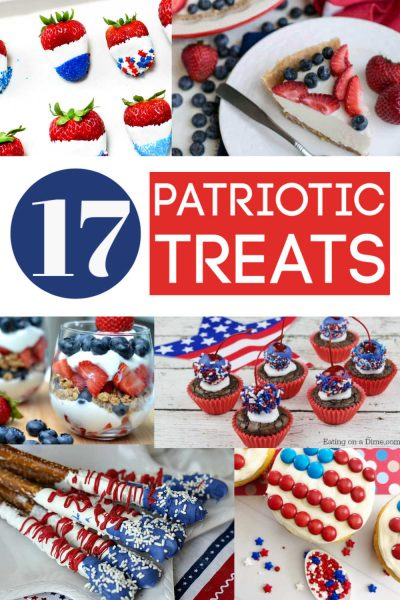 The Best Patriotic Treats, Desserts and Snacks for the 4th of July, Memorial Day and Labor Day. These kid-friendly recipe collection will have hits for your picnic, BBQ and family gathering. #4thofJuly #Patriotic #desserts #snacks #treats #RedWhiteandBlue