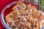 Glass Bowl with Pretzels, Rice Krispies and Chex