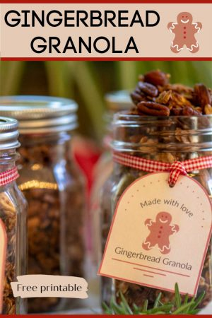 Adorable, delicious and easy-to-make, this Gingerbread Granola makes for a perfect Holiday Treat and Gift! #MasonJar #MasonJarGifts #Granola #Gingerbread