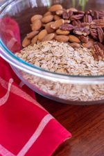 Glass Bowl with the dry granola ingredients