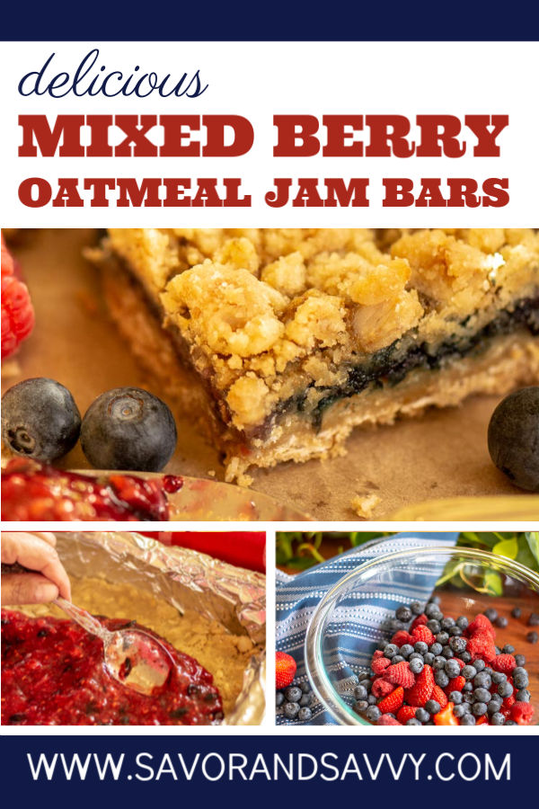 Mixed Berry Oatmeal Jam Bars are delish! A perfect summer treat with fresh picked berry jam! #berries #dessert #jambars #oatmealjambars #mixedberry #strawberries #raspberries #blueberries #freezerjam