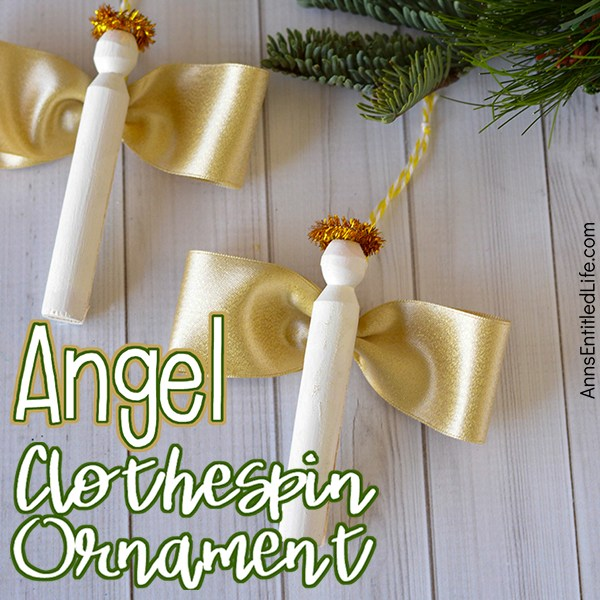 Two clothespin angels with golden wings