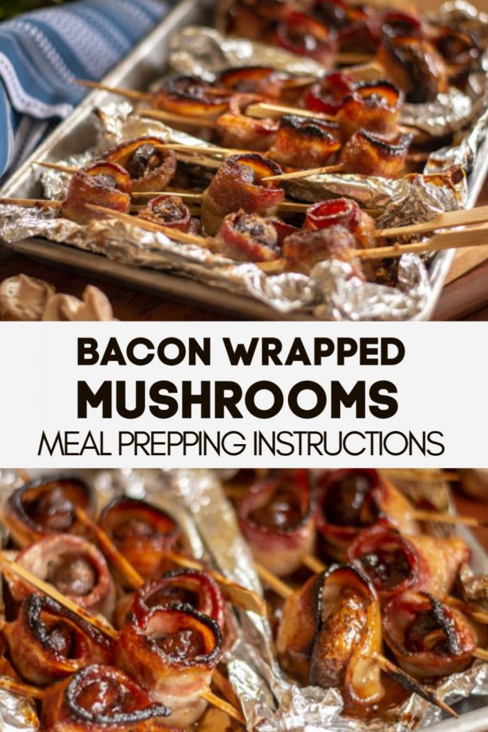 Three Different Toppings Make these Oven Baked Bacon Wrapped Mushrooms. These include meal prep instructions and are super easy to clean up. Perfect for a holiday appetizer #Bacon #Mushrooms #BaconWrappedMushroom