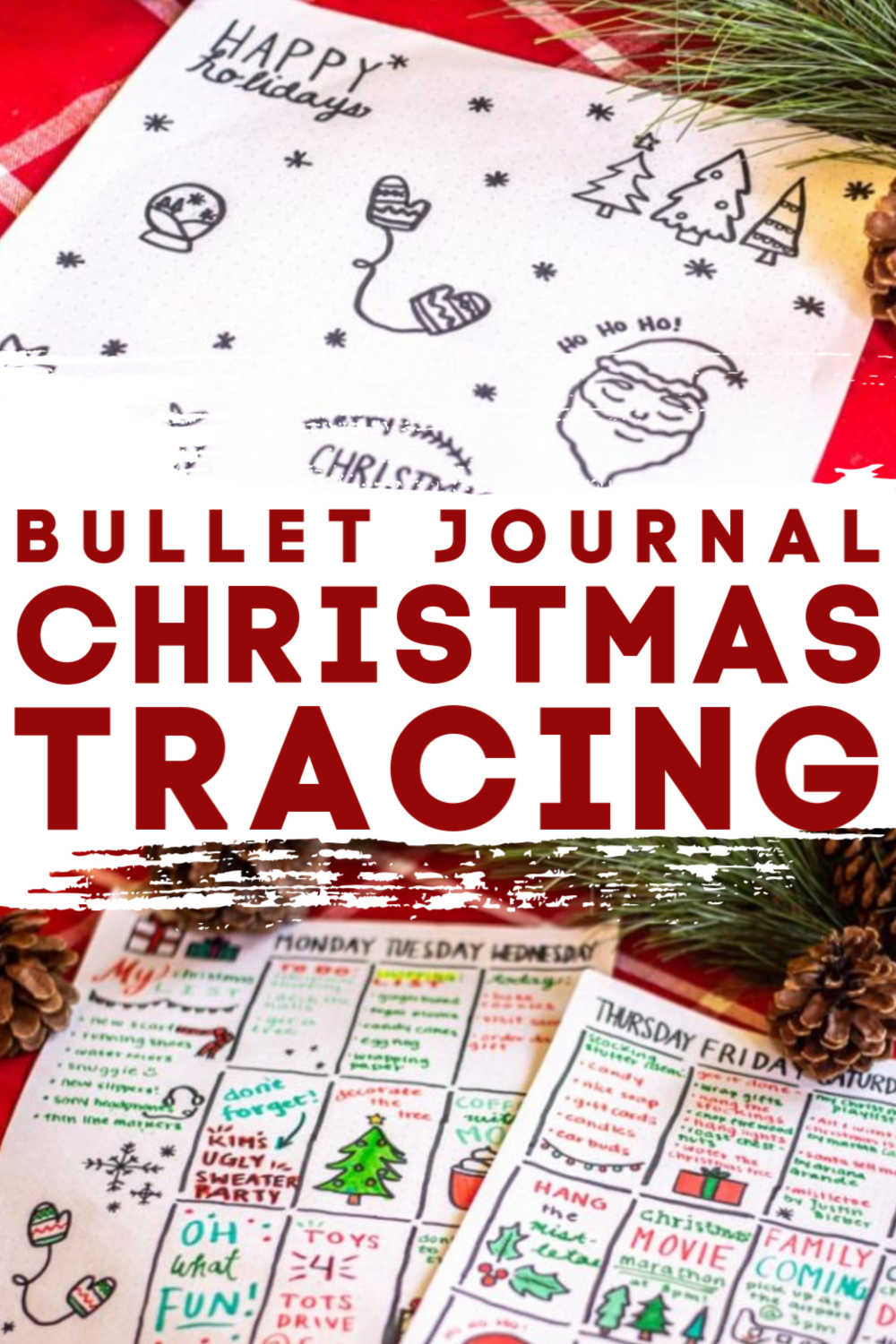Bullet Journal Christmas Ideas and Tracing Doodles. Fun and relaxing way to stay organized this holiday season #bujo #bulletjournal #christmas