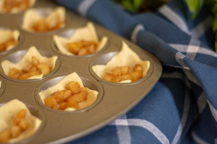Mini Muffin Tin with Puff Pastry and Tiny Baked Apples