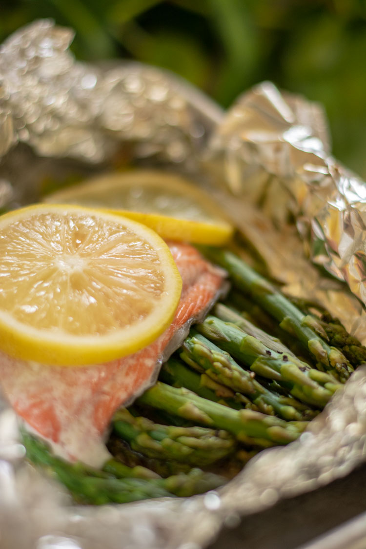 Cooked Salmon and Asparagus in a foil packet straight from the oven