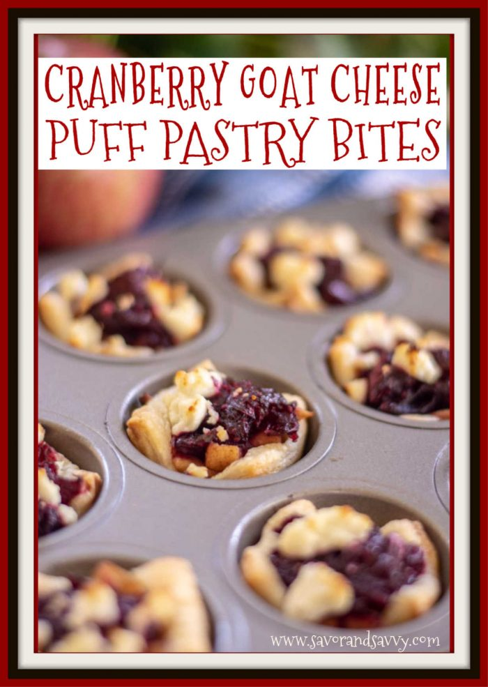 Apple Cranberry with Goat Cheese Puff Pastry Bites are a phenomenal treat. Made in mini muffin tins, these will rock your taste buds #Cranberry #PuffPastry #GoatCheese
