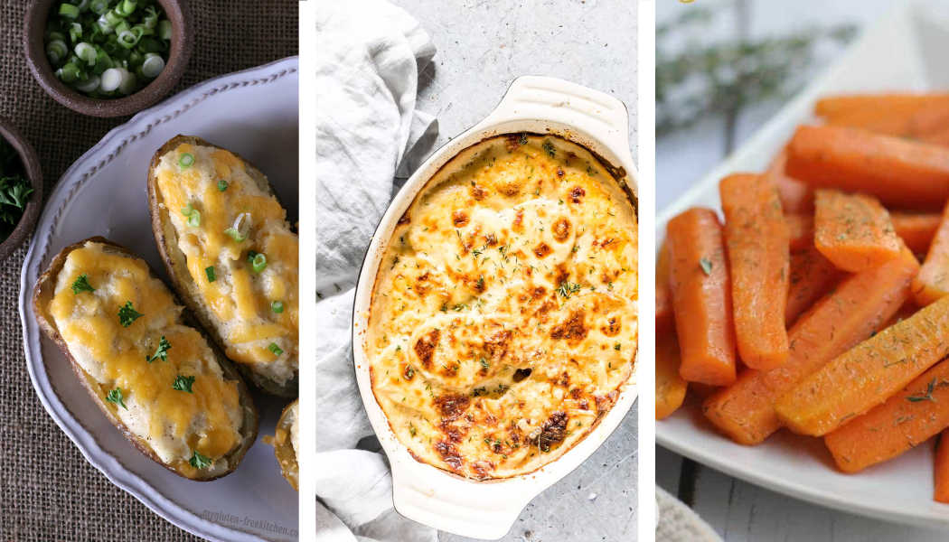 Twice Baked Potatoes, Carrots and Scalloped Potatoes