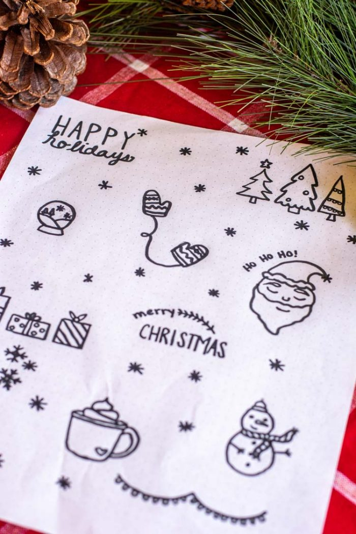 Christmas doodles for bullet journal tracing