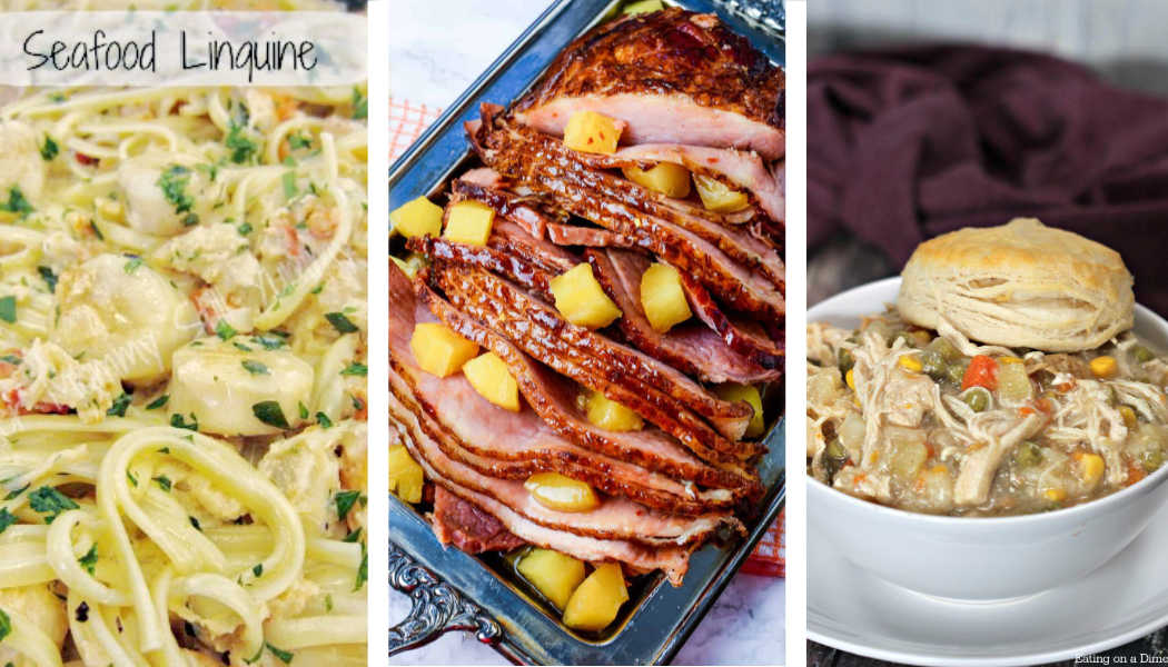 seafood linguine, slow cooker ham and a chicken pot pie in the photo