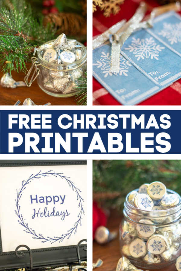 Free Christmas Printables for gift giving and decorating! #Printables #HersheyKisses #GiftTags