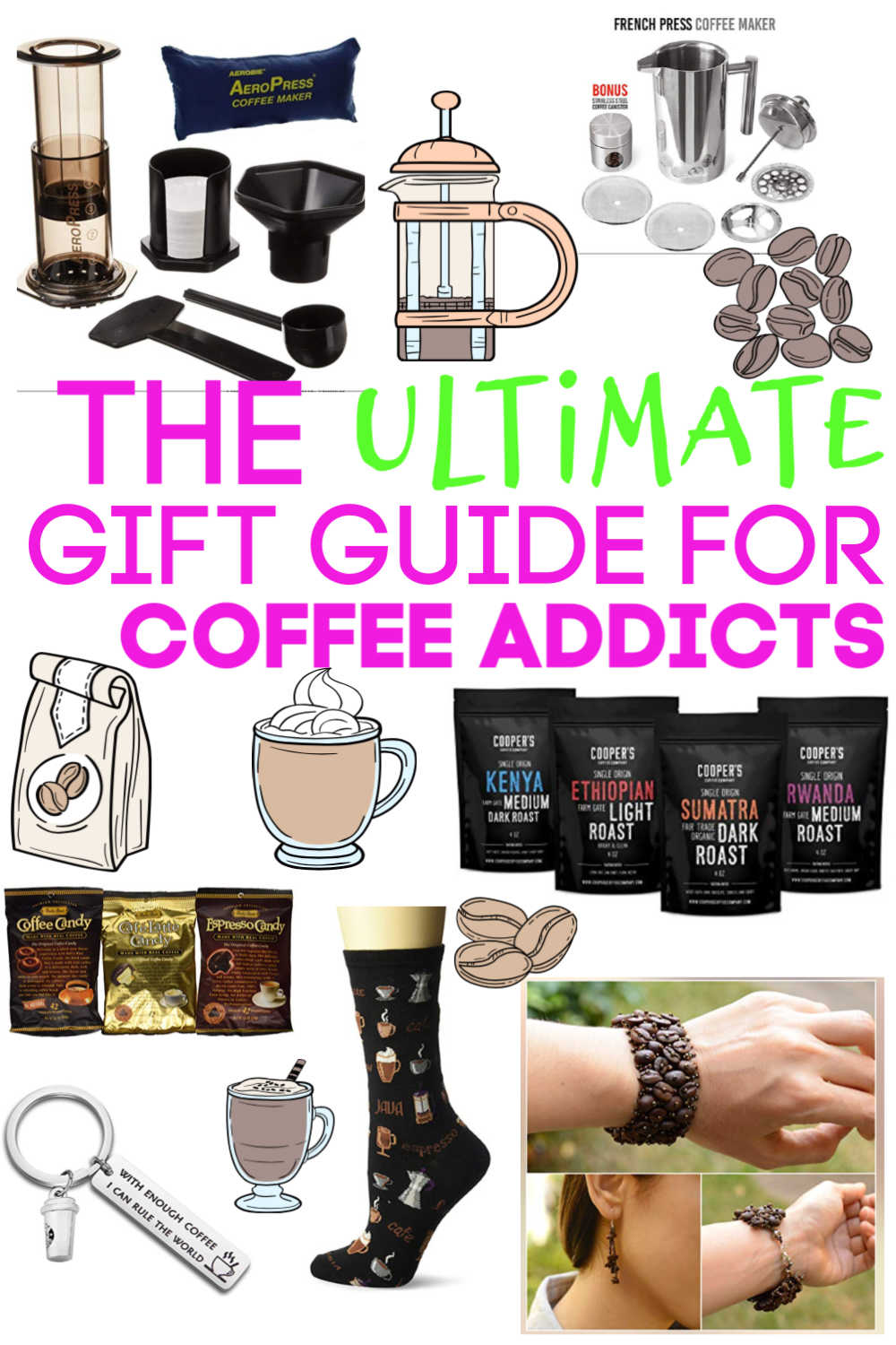 A fun gift guide for the coffee lover in your life. Everything from adorable socks to french press, you will surely find a great gift! #coffee #coffeelover #coffeeaddict #caffeine #frenchpress #aeropress