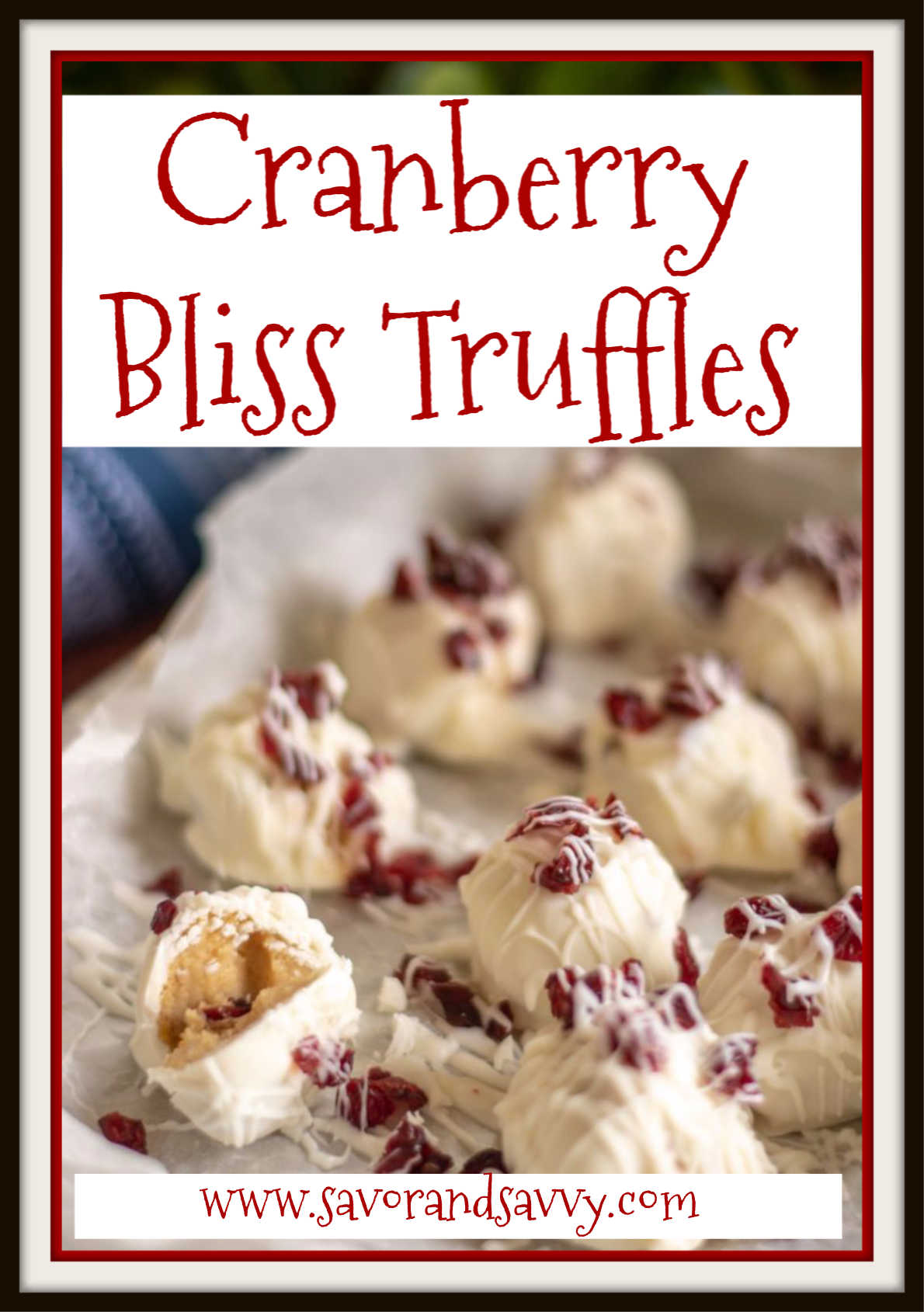 No Bake Cranberry Bliss Truffles Recipe {20 Minutes}