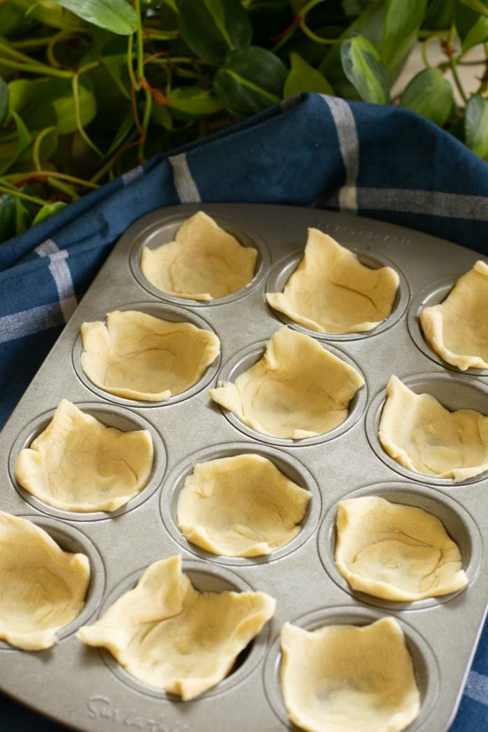 Muffin Tin with Puff Pastry lining