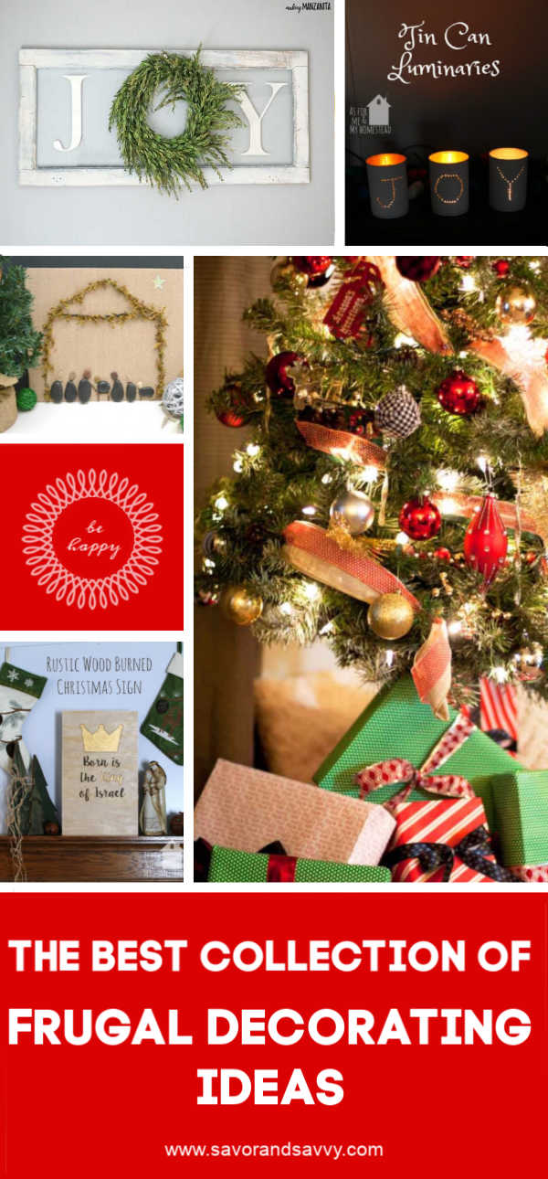 Tips, Tricks and Elegant examples of frugal decorating for Christmas. Check out these inexpensive ideas to make your holiday decor super FUN! #decorating #frugal #christmas