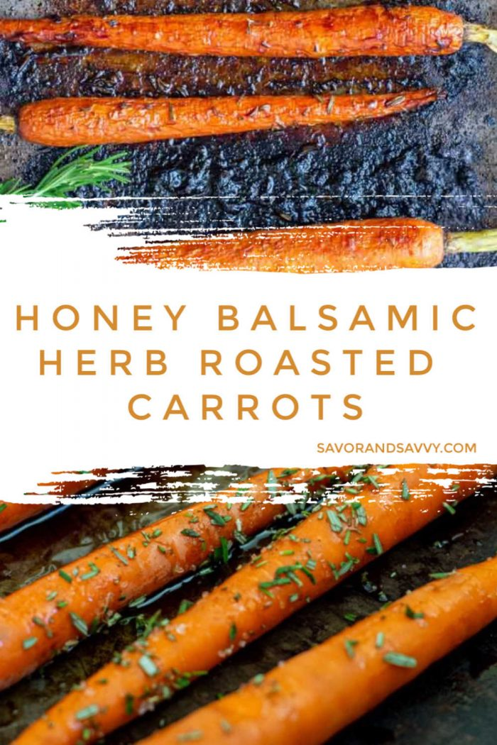 Honey Herb Roasted Carrots with Balsamic Vinegar is a new family fave! It is easy to prepare, and super fast to cook. It was so good, that we ate them straight from the sheet pan and they didn't even make it to the serving tray. #carrots #balsamic #honey #veggie #sidedish