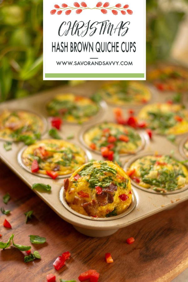 Hash Brown Quiche Cups Filled with Egg, Bacon, Spinach and Peppers are a fun and fantastic way to kick off your morning! #quiche #muffintin #EggCups #HashBrowns #Eggs #Breakfast