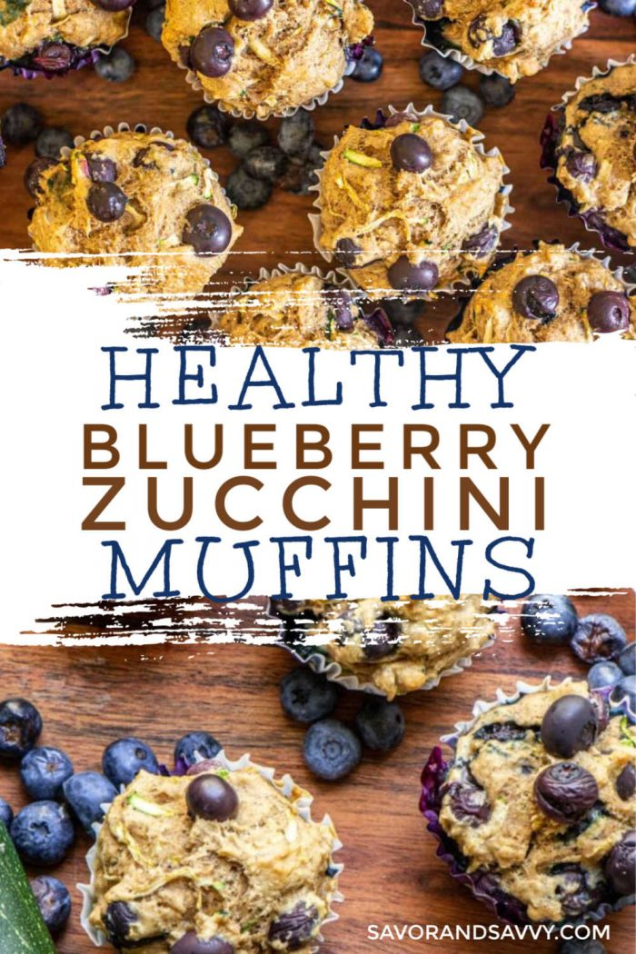 Super Healthy Blueberry Zucchini Muffins are a hearty start for breakfast. Made with no added sugar or oil, these delicious breakfast muffins will get your day off on the right foot! #breakfast #muffin #healthymuffins #nosugar #blueberries