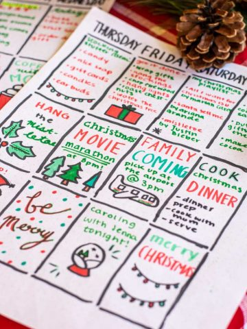 Bullet Journal Weekly Spread Idea for the Holidays